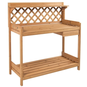 Best Choice Products Potting Bench Outdoor Garden WorkBench Station Planting Solid Wood Construction