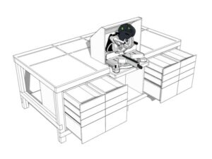 Workbench with Built-in Table and Miter Saws