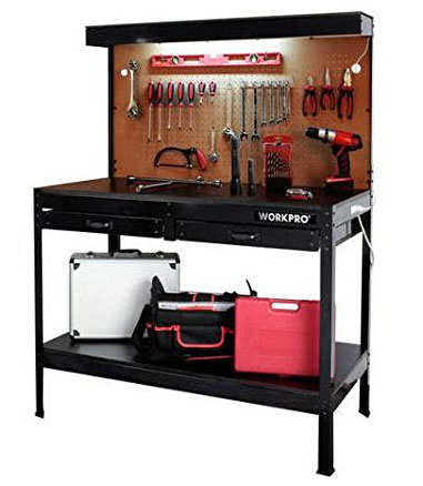 Garage-Workbench-with-Light-Wood-Steel-Work-Bench-Tools-Table-Home-Worksho