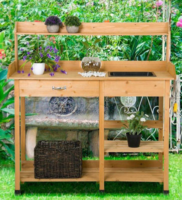 Yaheetech-Potting-Bench-Outdoor-Garden-Work-Bench-Station-Planting-Solid-Wood-Construction