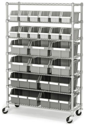 Seville-Classics-Commercial-7-Tier-Platinum-Gray-NSF-22-Bin-Rack-Storage-System