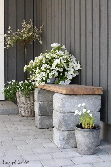Brick and Plank Garden Bench